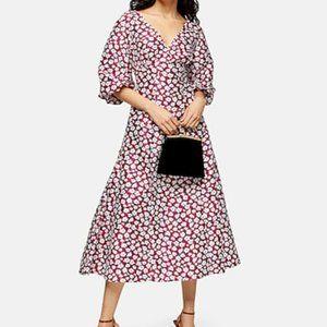 Topshop daisy puff sleeve midi dress